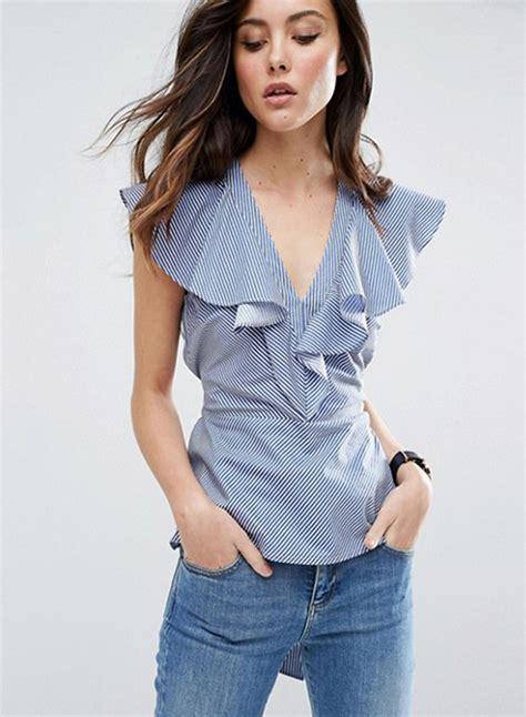 v neck flounce sleeve striped blouse oasap
