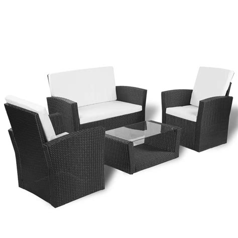 vidaXL Black Outdoor Poly Rattan Lounge Set with Cushions