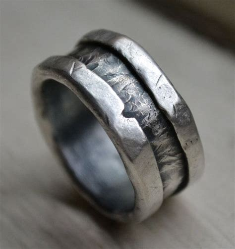 Mens Handmade Rings - mens wedding band rustic and sterling silver ring