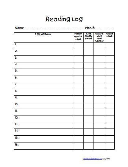 5th Grade Reading Log Printable