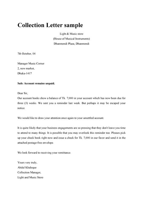 Business Letter Format For Collections dunning collection letter sle template exle