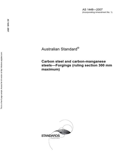 As 1448-2007 Carbon Steel and Carbon-manganese Steels