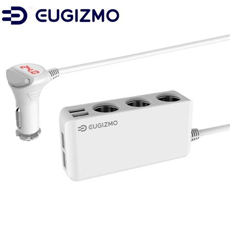 5a 3usb Three Usb Lighter Car Charger Power Adapter Cigarette M eugizmo 6 5a power adapter dc outlet splitter 4 ports usb charger with 3 socket cigarette