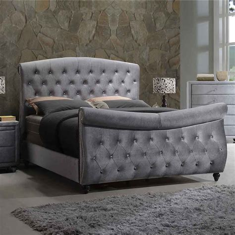 grey velvet tufted headboard meridian furniture hudson sleigh k hudson grey velvet king