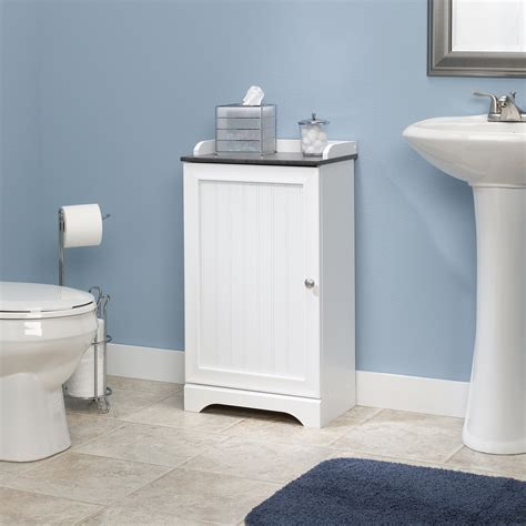 White Bathroom Storage Furniture Sauder Bath Floor Cabinet 414032 Sauder