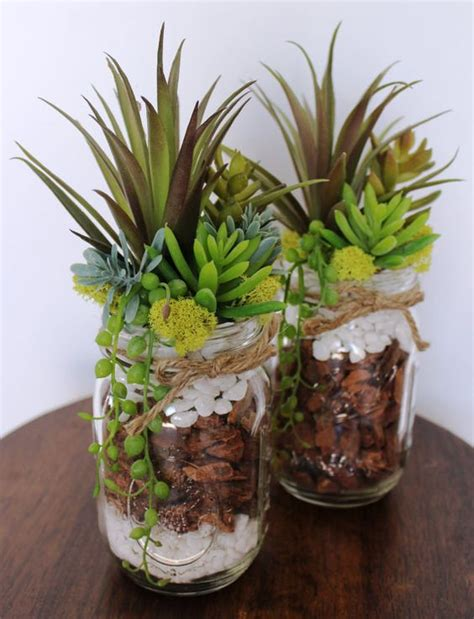 succulent arrangements jars masons and artificial succulents on