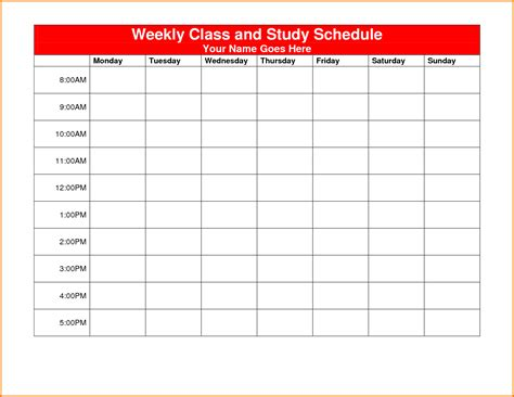 weekly class schedule template authorization letter