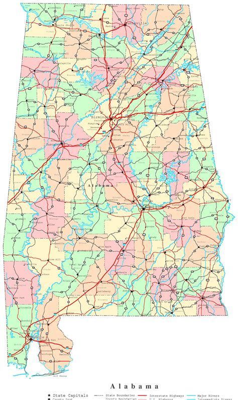 map of alabama counties alabama printable map