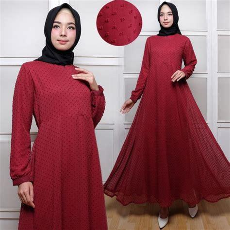 Baju Muslim Gamis Syar I Rubiah Maroon baju gamis polos terbaru rubiah maxi trend busana muslim