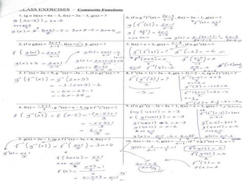 Composition Of Inverse Functions Worksheet