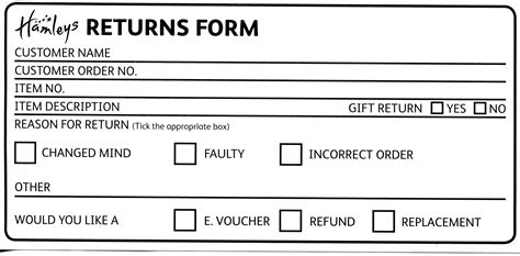 Our Returns Policy Hamleys Merchandise Return Label Template