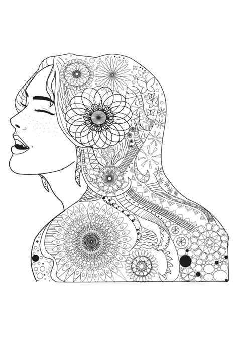 Dibujo para colorear mandala ilustración silueta chica