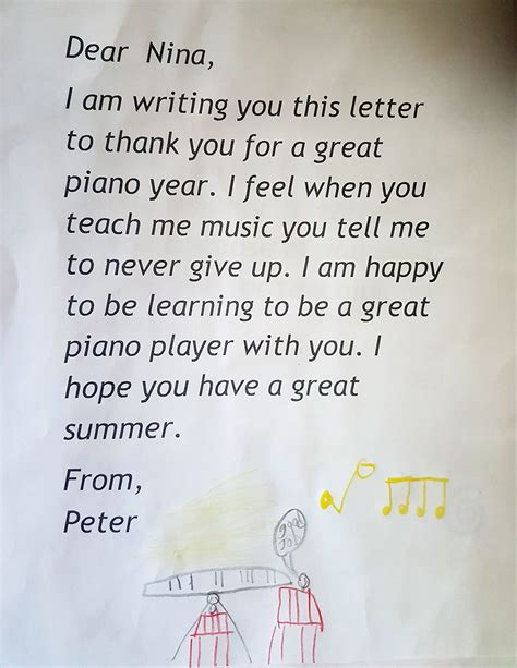 Thank You Note To Preschool End Of Year A Thank You Card To Piano From Student
