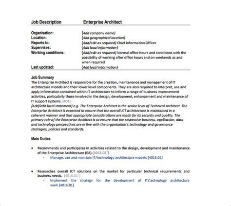 Architects Description by Enterprise Architecture Duties