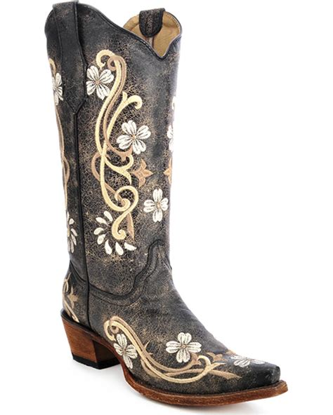 embroidered cowboy boots circle g s floral embroidered boot snip toe