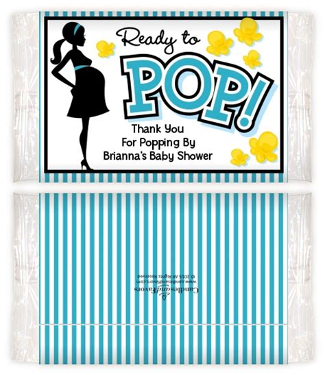 Baby Shower Popcorn Wrappers by Ready To Pop Teal Baby Shower Popcorn Wrappers Baby