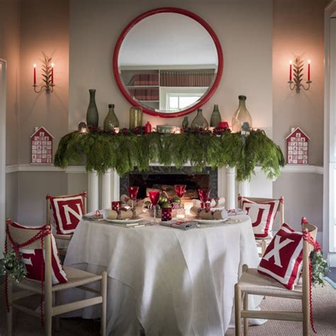 nordic style christmas dining room in red and white