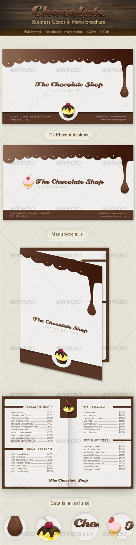 chocolate business cards templates chocolate business cards and menu brochure graphicriver