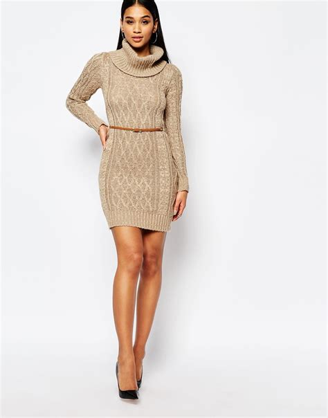 kabel verkleiden lipsy cable knit dress with cowl neck in brown lyst