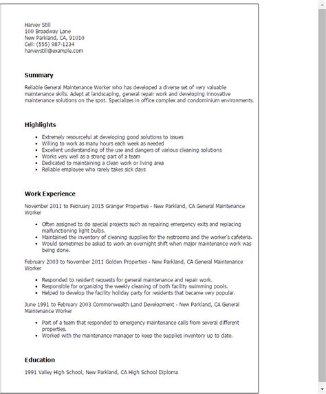 Maintenance Resume Template Professional General Maintenance Worker Templates To