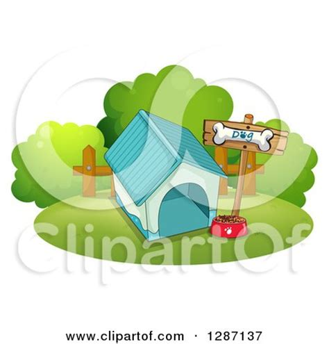 dog house food clipart of a blue dog house food bowl and bone sign royalty free vector