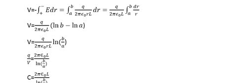 cylindrical capacitor equations capacitance of a capacitor definition formula unit and equations