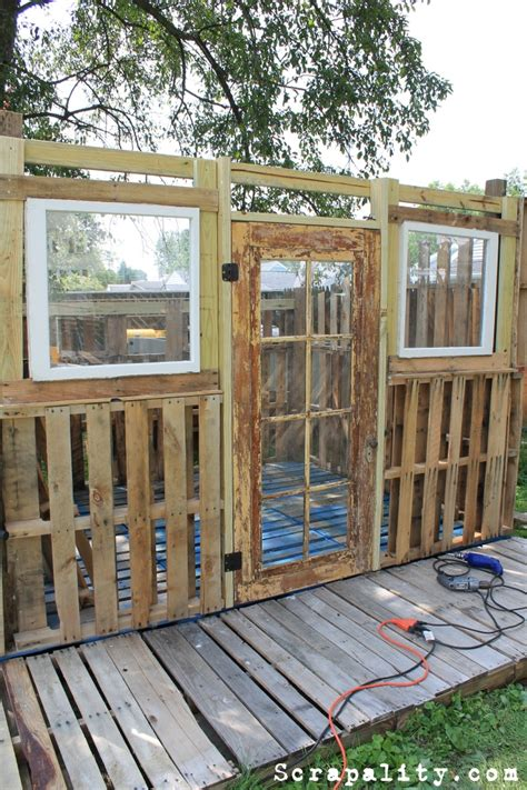 project pallet shed a of windows and a door