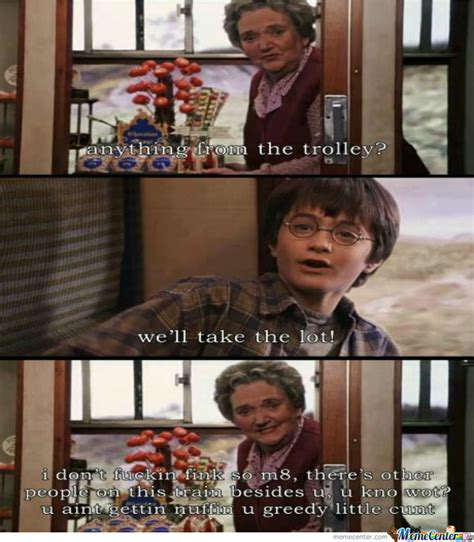 Harry Potter Trolley Meme - greedy potter by chakaara meme center
