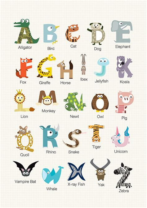 learn the alphabet learn abc with animal pictures teach your child to recognize the letters of the alphabet abcd for books animal alphabets on behance
