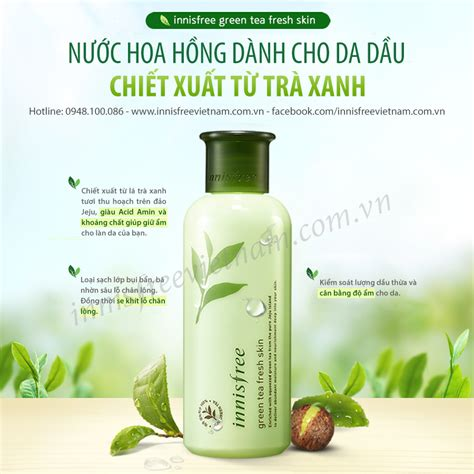 Innisfree Green Tea Fresh Skin n豌盻嫩 hoa h盻渡g innisfree green tea fresh skin