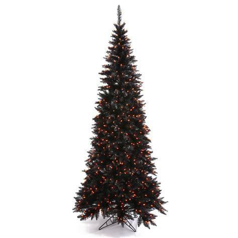 black halloween tree with orange lights 6 5 foot black slim fir halloween tree orange pre lit