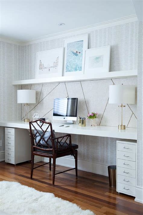 home office wallpaper chic home office features a wall clad in thibaut ikat
