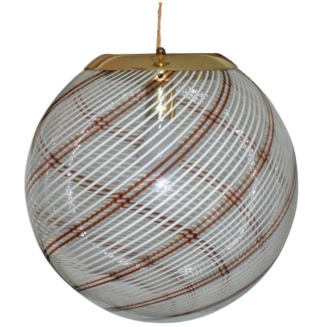 Large Glass Globe Pendant Light Large Italian Swirl Design Handblown Glass Globe Pendant Light At 1stdibs