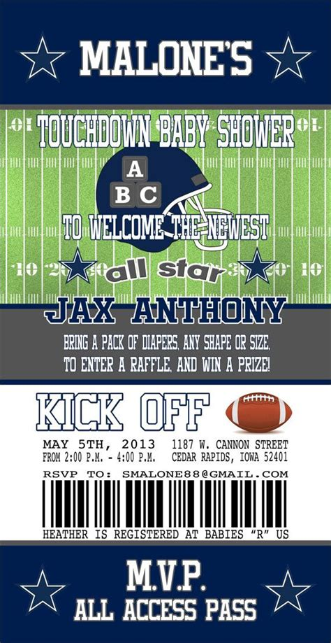 Dallas Cowboys Baby Shower Invitations by Dallas Cowboys Inspired Football Baby Shower By