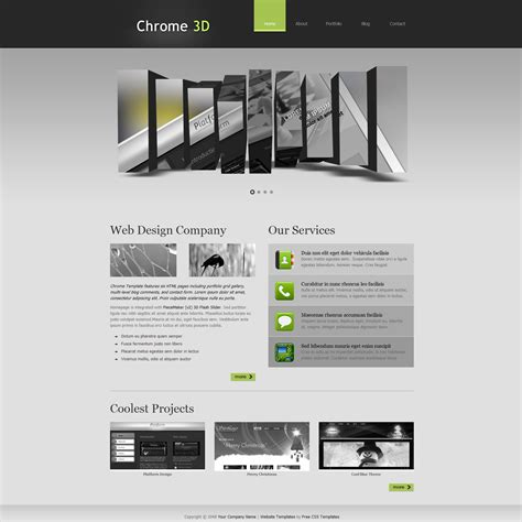 Free Template 281 Chrome 3d Web Design Templates Free