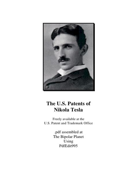 Nikola Tesla Beliefs Nikola Tesla All U S Patents Of Nikola Tesla 499 Pages