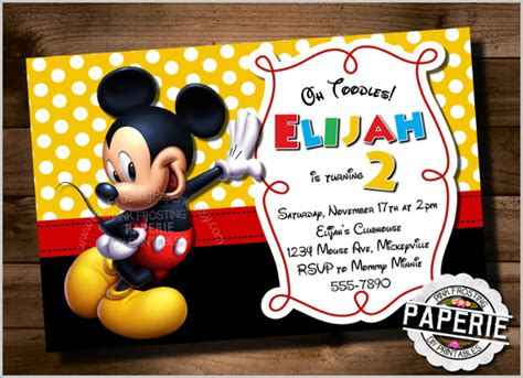 mickey mouse invitation card template mickey mouse invitation templates 26 free psd vector