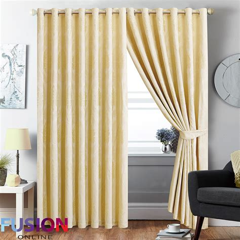 Ring Top Curtains Ring Top Curtain Jacquard Fully Lined Pair Eyelet Curtains With 2 Tie Backs