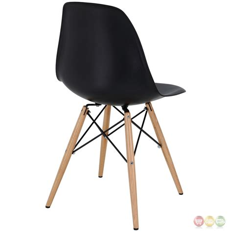 Molded Plastic Dining Chairs Pyramid Modern Molded Plastic Dining Side Chairs With Wooden Legs Black