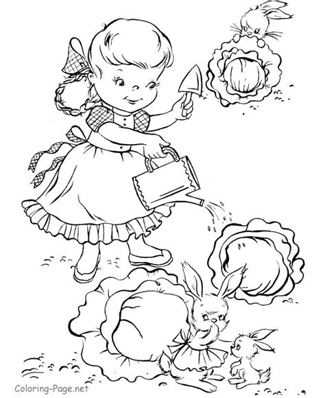spring garden coloring pages spring coloring page watering garden free sle
