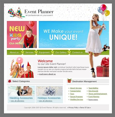 event planner website template event planner website template 11476