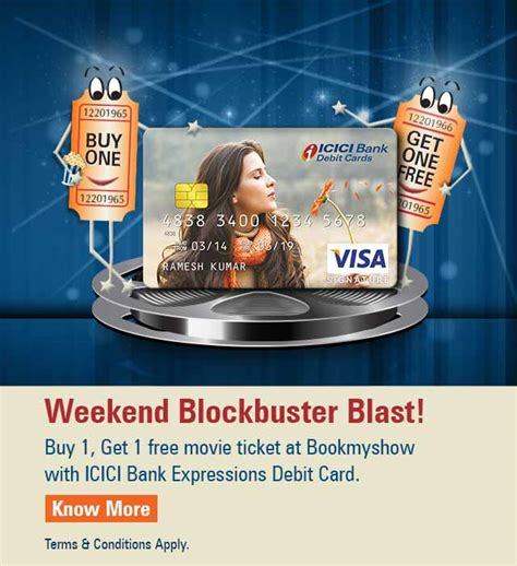 bookmyshow offers icici bank debit card icici bank