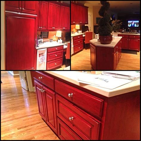 Red Kitchen Cabinets With Black Glaze | black glaze over red kitchen cabinets angelfish studios