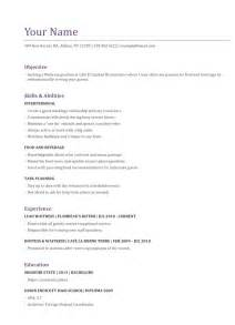 Sample Resume Objectives Waitress by Gallery For Gt Simple Job Resumes For Waitress