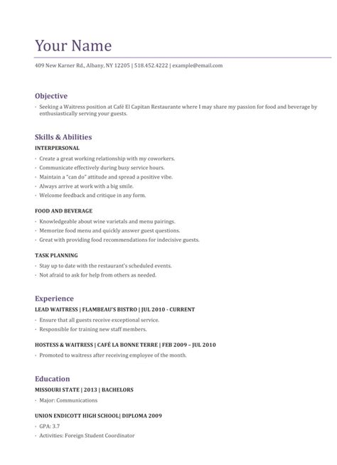 waitress resume examples photo download waiter template