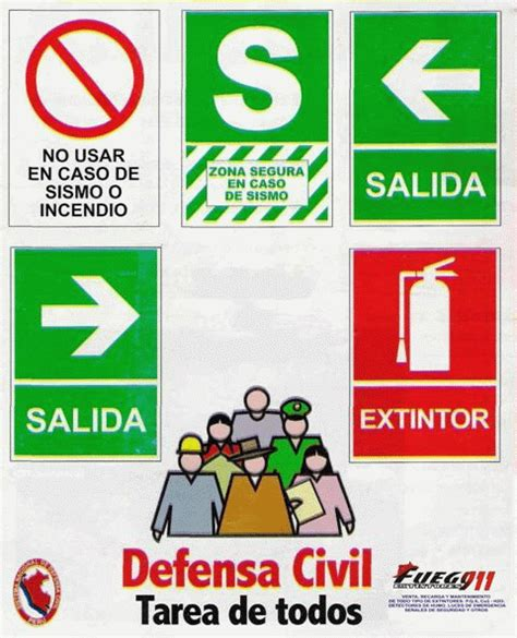 figuras de seales de defensa civil extintores