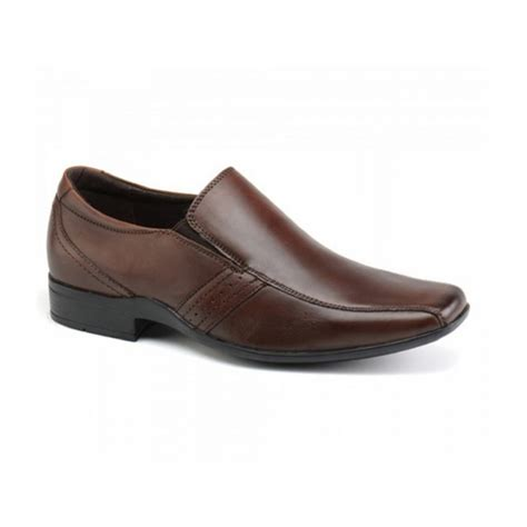 front craddock mens leather smart slip on shoes brown