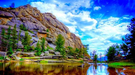 rocky mountain river wide wallpaper
