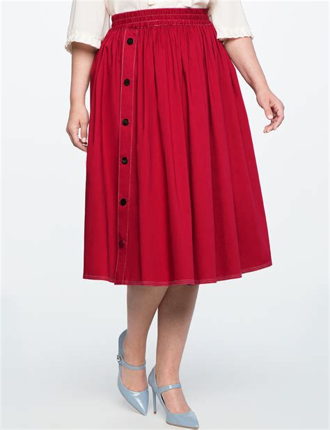 side snap button midi skirt s plus size skirts