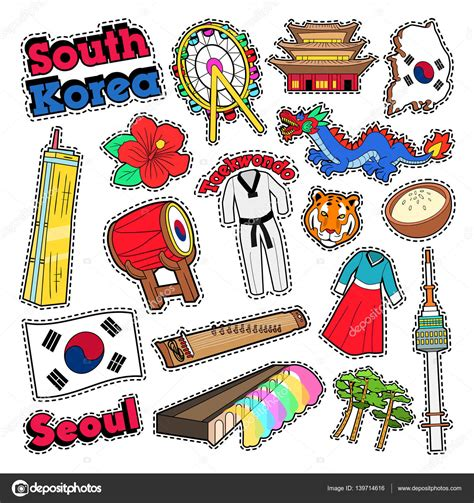 doodle korea south korea travel elements with architecture and
